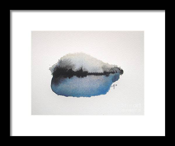 Abstract Framed Print featuring the painting Reflection in the lake by Vesna Antic