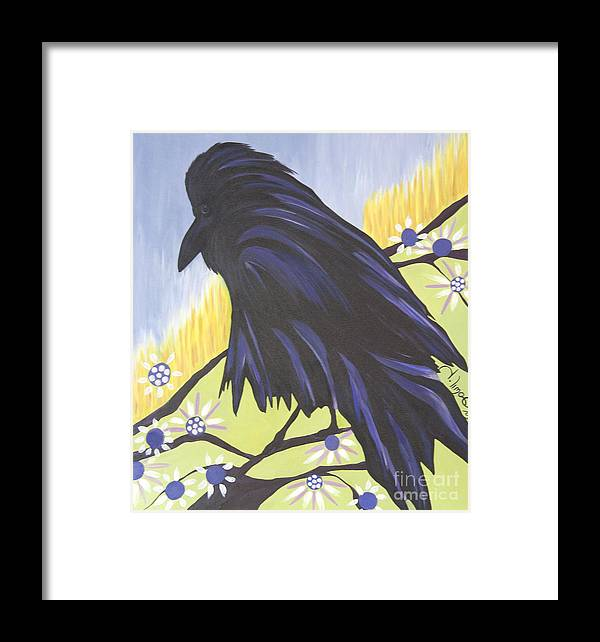 #raven Framed Print featuring the painting Reflection by Jacquelinemari