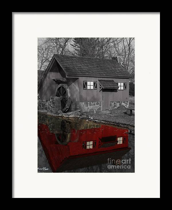 Colorkey Framed Print featuring the photograph Reflection Of Red Mill by Bill Woodstock