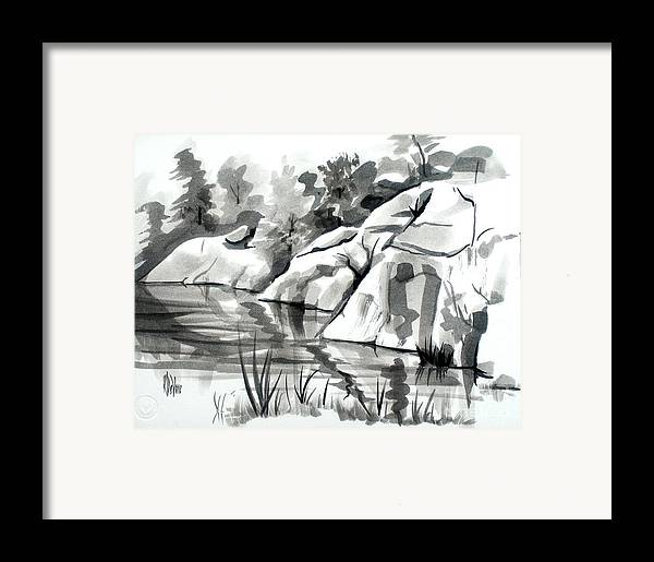 Reflections At Elephant Rocks State Park No I102 Framed Print featuring the painting Reflections At Elephant Rocks State Park No I102 by Kip DeVore