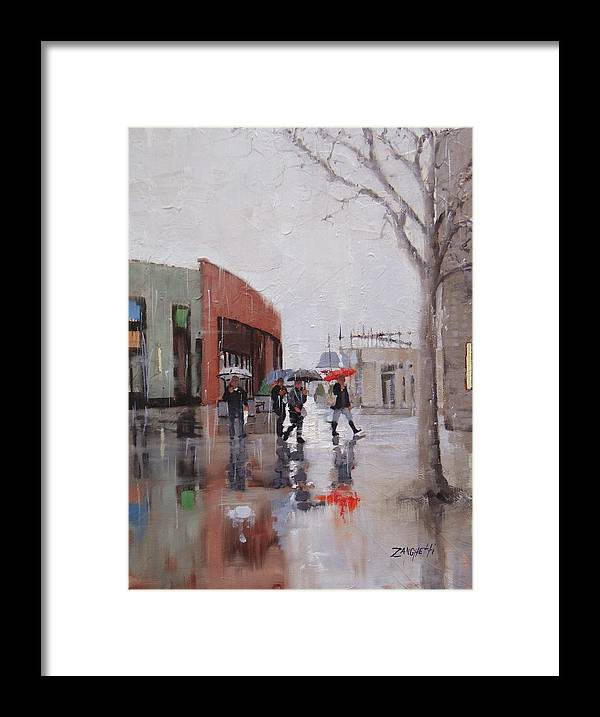 Rain Framed Print featuring the painting Reflections At Patriot Place by Laura Lee Zanghetti