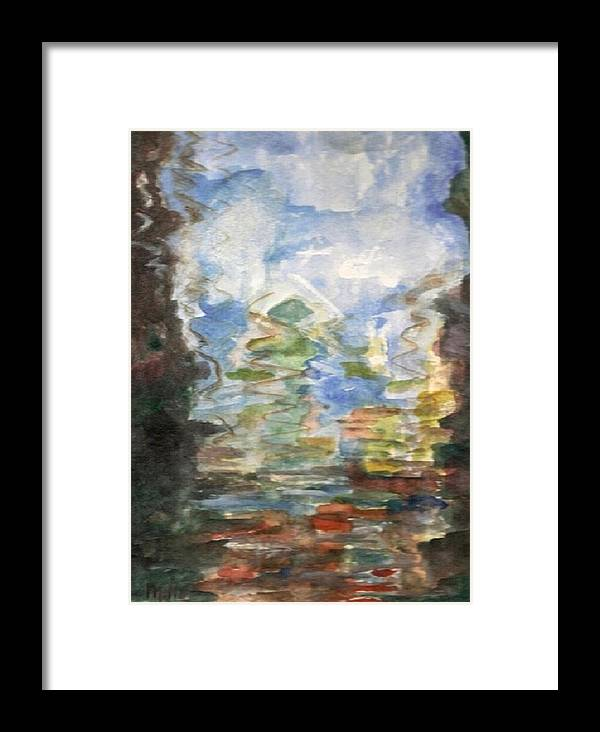 Water Framed Print featuring the painting Reflections In The Water by Milla Nuzzoli