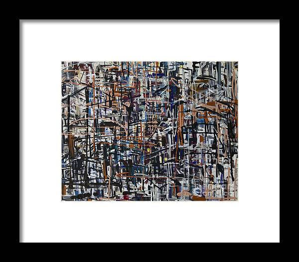 Urban Framed Print featuring the painting Reflections by Jelena Ignjatovic