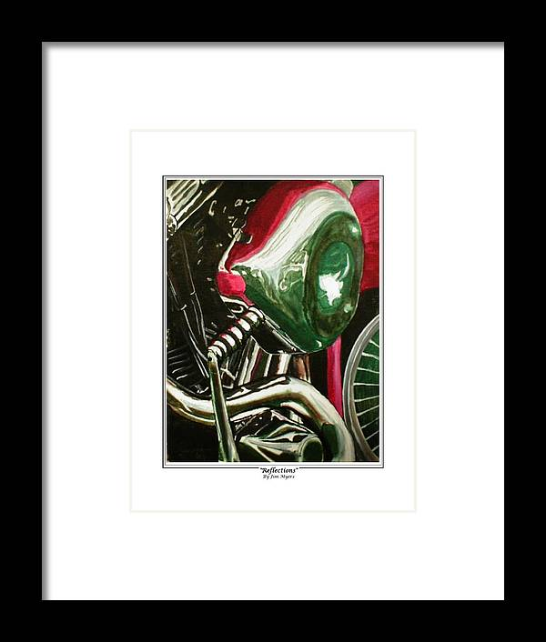 Motorcycles Framed Print featuring the painting Reflections by Jim Myers