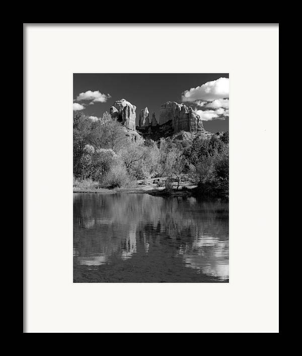 Sedona Framed Print featuring the photograph Reflections Of Sedona Black And White by Joshua House