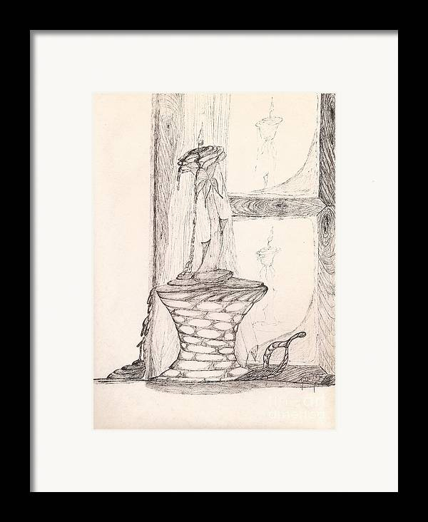 Pen And Ink Framed Print featuring the drawing Reflections... by Robert Meszaros