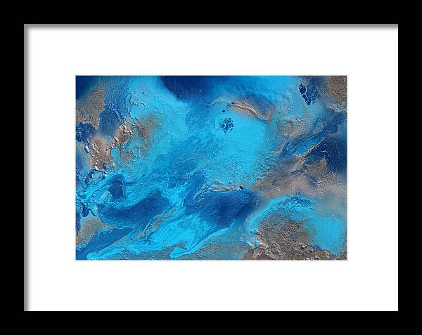 Abstract Painting Framed Print featuring the painting Relaxing Ocean Sounds by Julia Apostolova