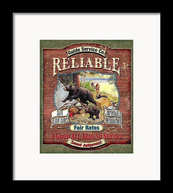 Philip Goodwin Framed Print featuring the painting Reliable Guide Service Sign by JQ Licensing