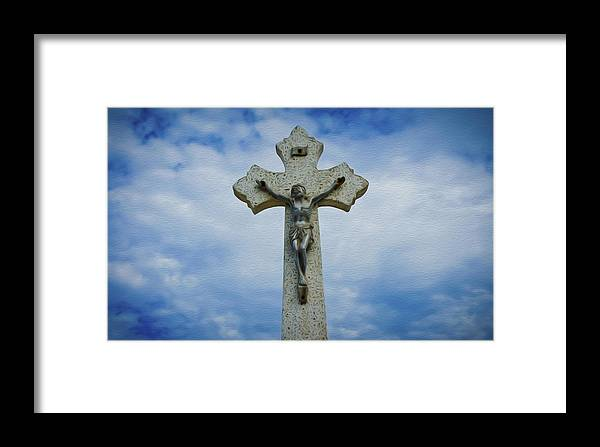 Ancient Framed Print featuring the photograph Religious Cross by Aged Pixel