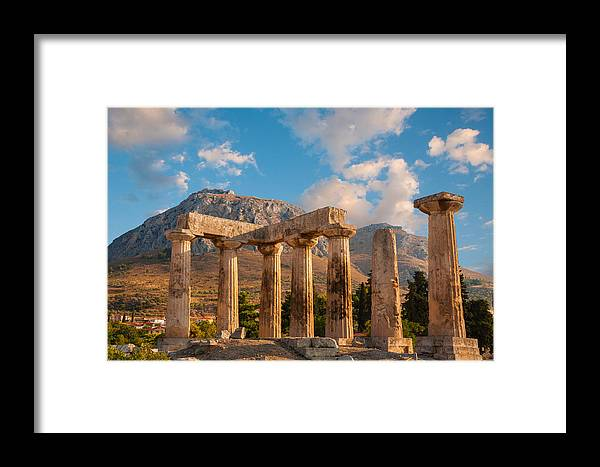 Ancient Framed Print featuring the photograph Remains Of Apollo Temple by Gurgen Bakhshetsyan