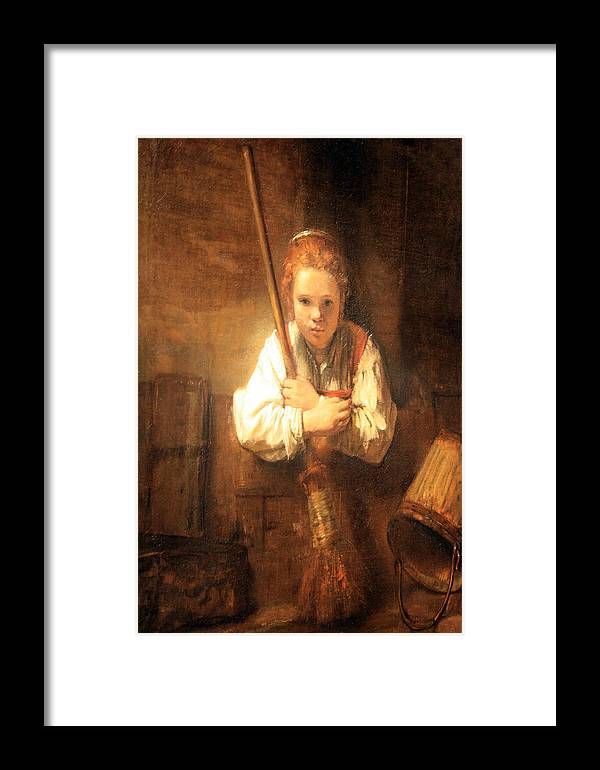 Rembrandt Workshops A Girl With A Broom Framed Print By Cora Wandel