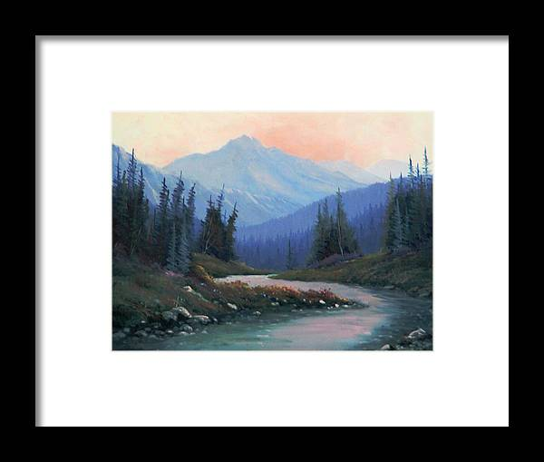 Rocky Mountains Framed Print featuring the painting Remnants Of The Day 130920-1216 by Kenneth Shanika