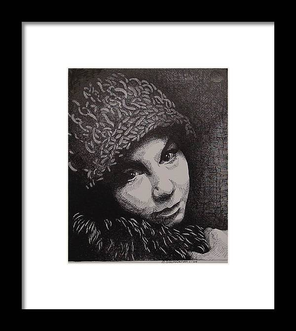 Portraiture Framed Print featuring the drawing Rena by Denis Gloudeman