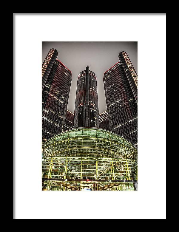 Renaissance Center Framed Print featuring the photograph Renaissance Center Detroit Michigan by Nicholas Grunas