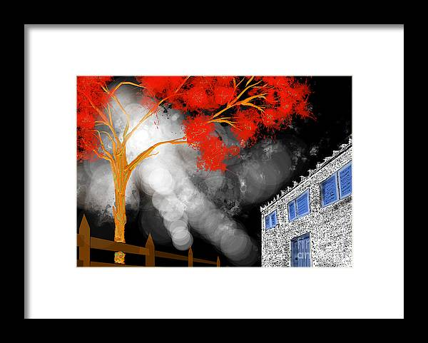 House Framed Print featuring the painting Rendezvous In August by Jiovanni Dim