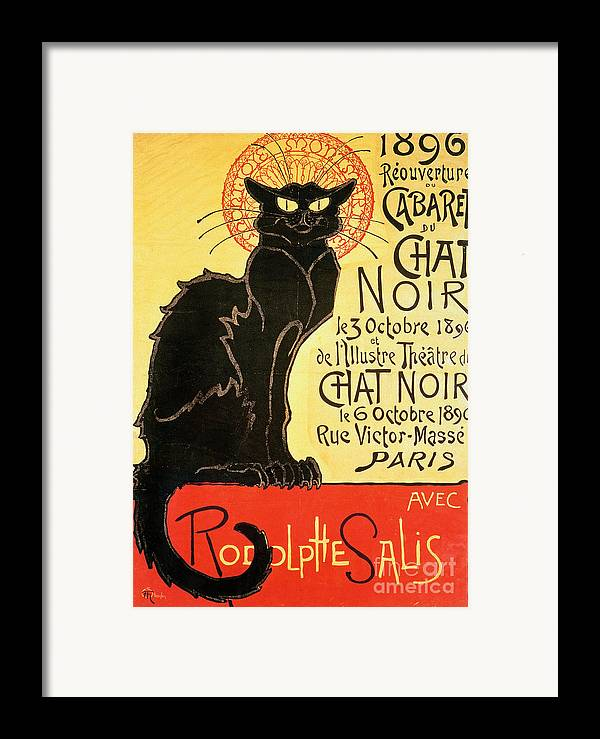 Paris Framed Print featuring the painting Reopening Of The Chat Noir Cabaret by Theophile Alexandre Steinlen
