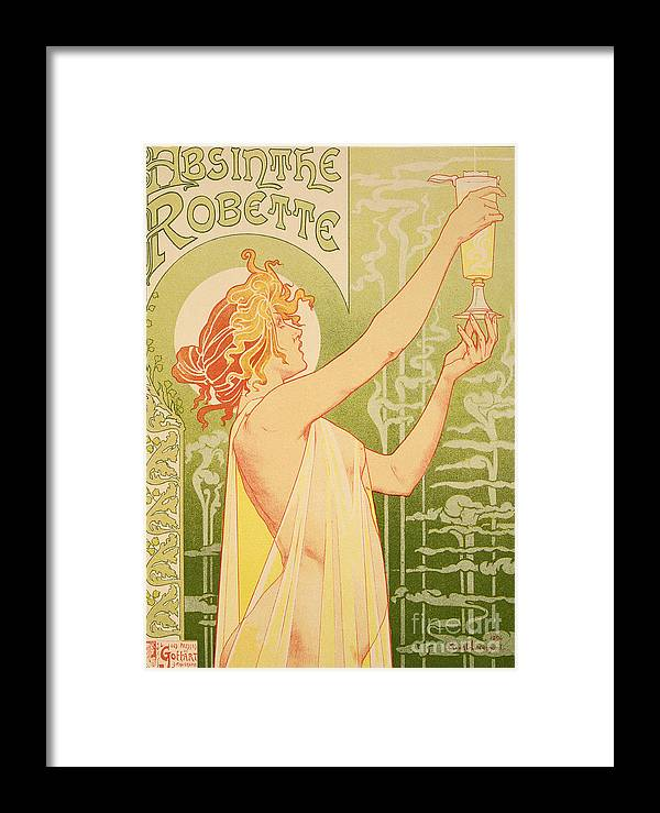 Advert; Advertisement; Alcohol; Liqueur; Alcoholic Drink; Beverage; Art Nouveau; Female; Holding Up A Glass Framed Print featuring the painting Reproduction Of A Poster Advertising 'robette Absinthe' by Livemont