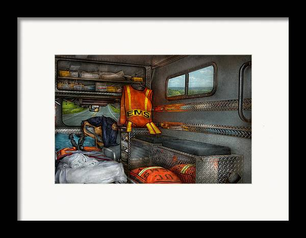 Rescue Framed Print featuring the photograph Rescue - Emergency Squad by Mike Savad