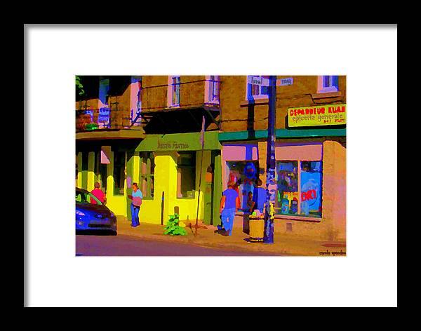 Montreal Framed Print featuring the painting Restaurant El Pintxo Rue Roy Plateau Montreal Basque Food Spanish Cafe City Scene Art Carole Spandau by Carole Spandau
