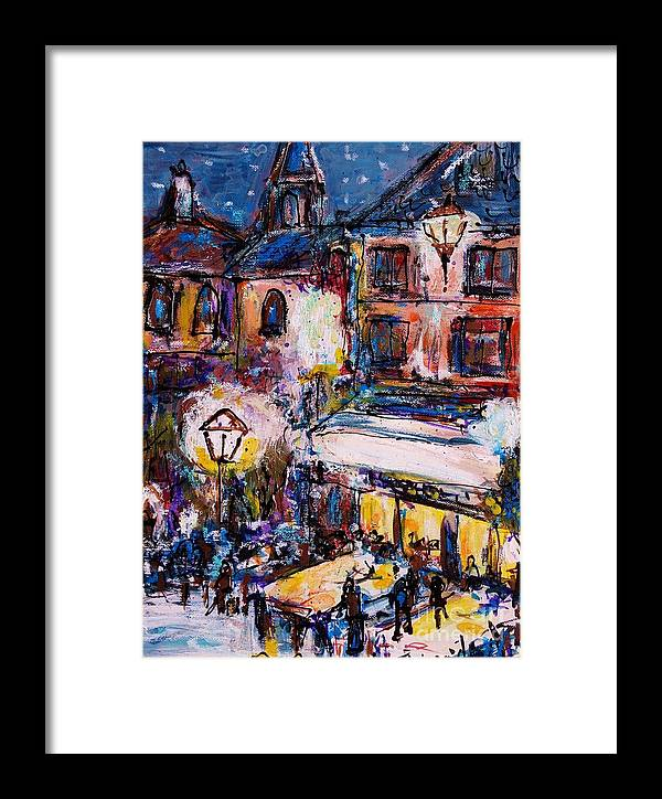 Painting Framed Print featuring the painting Restaurant by Ingrid Becker