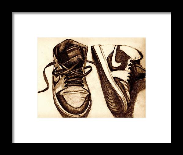Shoes Framed Print featuring the drawing Retro 1 by Dallas Roquemore