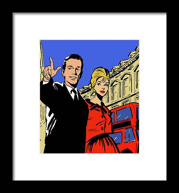 Young Men Framed Print featuring the digital art Retro Couple Sightseeing In London by Jacquie Boyd