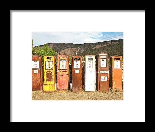 Home Decor Framed Print featuring the photograph Retro Gas Pumps In Outdoor Museum Nm by Helovi