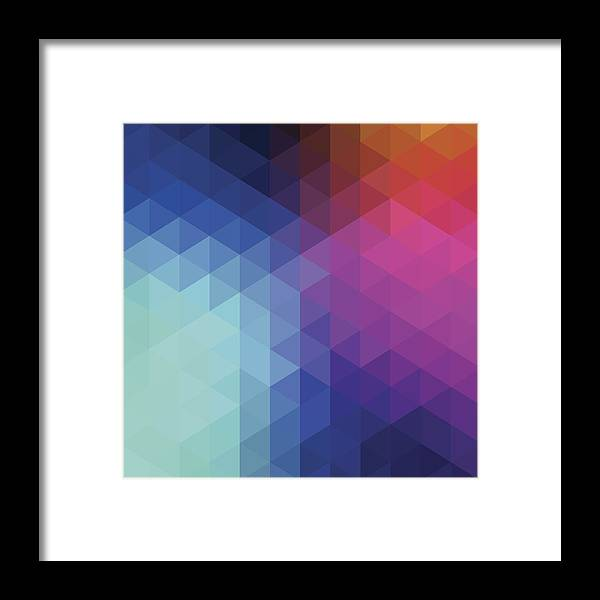 Triangle Shape Framed Print featuring the digital art Retro Hexagon Abstract Background by Mustafahacalaki