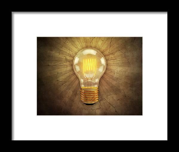 Lightbulb Framed Print featuring the digital art Retro Light Bulb by Scott Norris