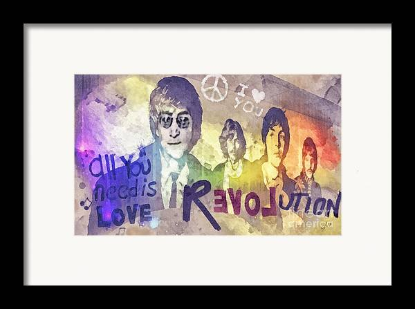 Revolution Framed Print featuring the mixed media Revolution by Mo T