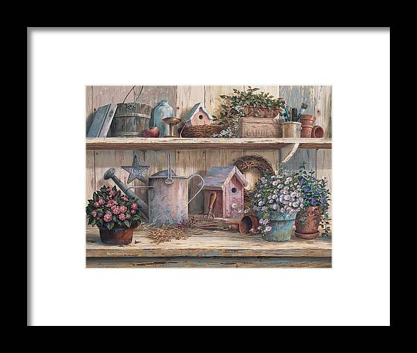 Garden Bench Framed Print featuring the painting Rhapsody In Rose by Michael Humphries