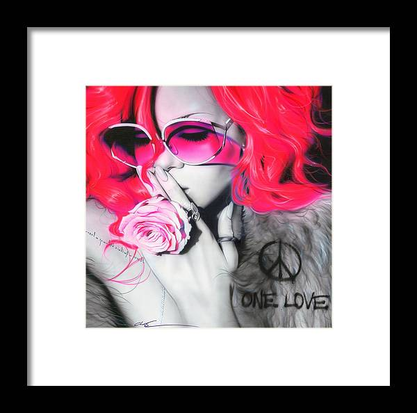 Rihanna Framed Print featuring the painting Rihanna by Christian Chapman Art