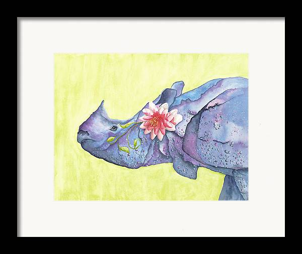 Rhino Framed Print featuring the painting Rhino Whimsy by Mary Ann Bobko