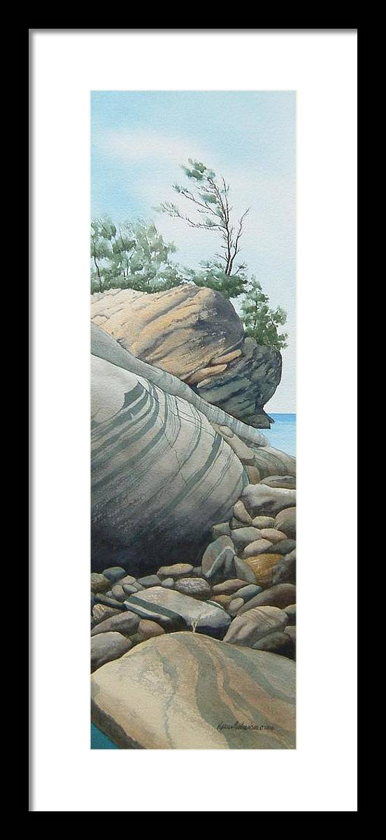 Watercolor Framed Print featuring the painting Rhythms In Rock by Karen Richardson