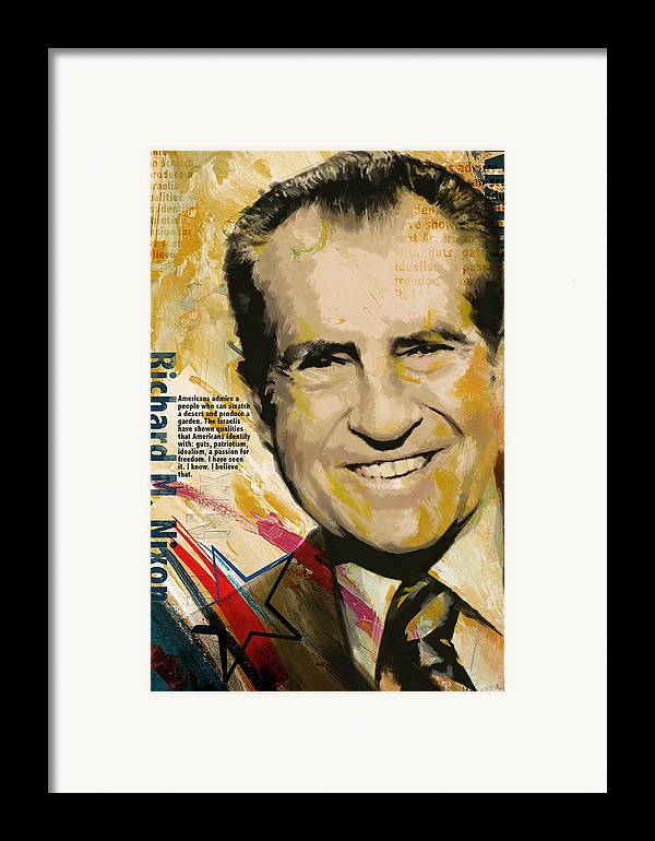 Richard Nixon Framed Print featuring the painting Richard Nixon by Corporate Art Task Force