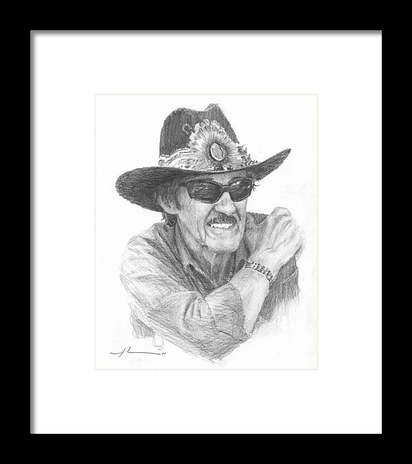 <a Href=http://miketheuer.com Target =_blank>www.miketheuer.com</a> Richard Petty Pencil Portrait Framed Print featuring the drawing Richard Petty Pencil Portrait by Mike Theuer