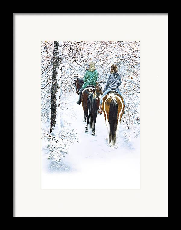 Snow Framed Print featuring the drawing Ride Into Faerieland by Jill Westbrook