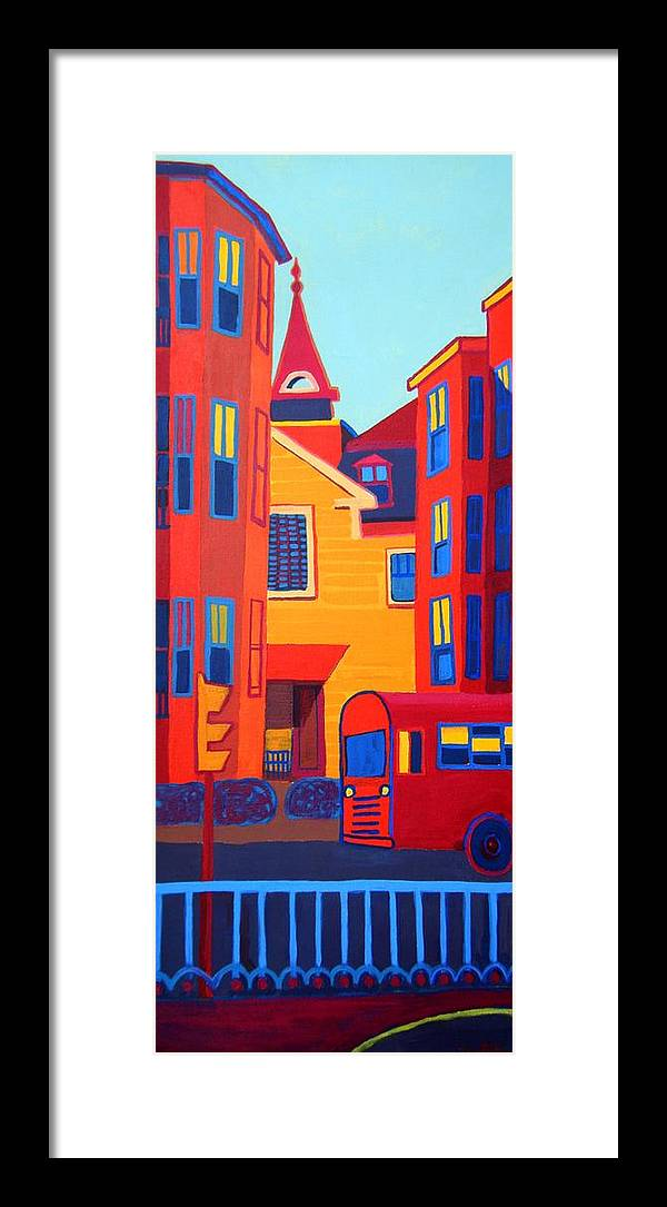 Buildings Framed Print featuring the painting Ride on the Early Morning Light by Debra Bretton Robinson