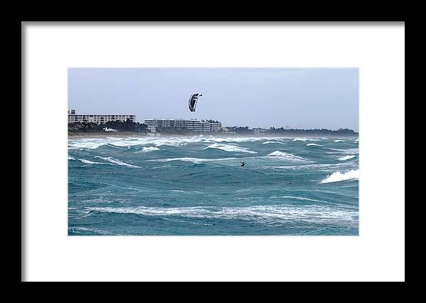 Outdoors Framed Print featuring the photograph Riding Wind And Surf by Peggy King