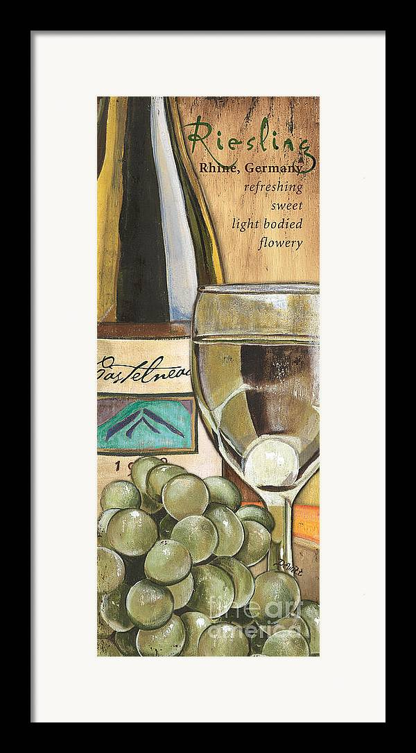 Riesling Framed Print featuring the painting Riesling by Debbie DeWitt
