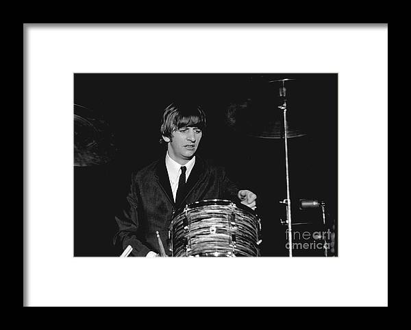 Beatles Framed Print featuring the photograph Ringo Starr, Beatles Concert, 1964 by Larry Mulvehill