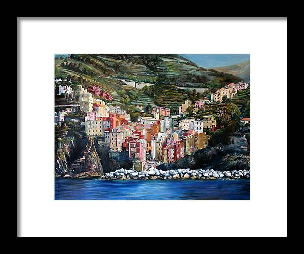 Cinque Terre Framed Print featuring the painting Riomaggiore Glory- Cinque Terre by Jennifer Lycke