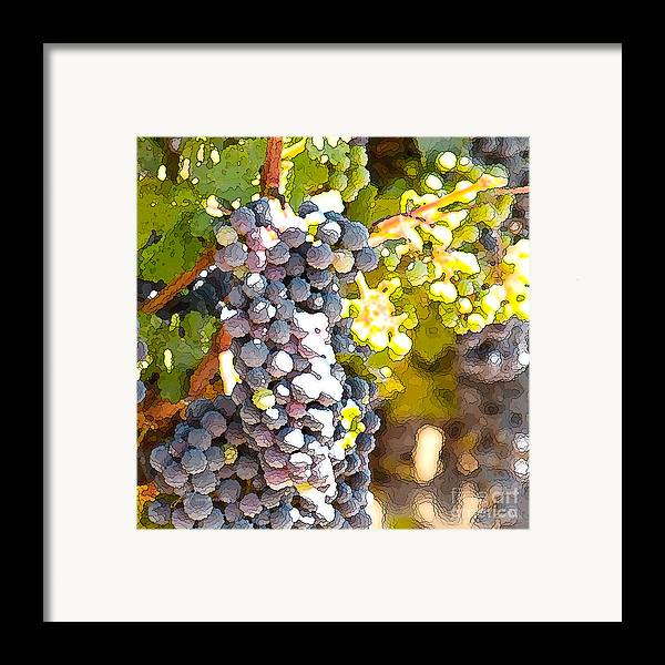 Grapes Framed Print featuring the painting Ripe Grapes by Artist and Photographer Laura Wrede