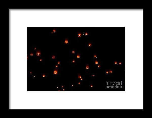 Rise Framed Print featuring the photograph Rise Festival Lanterns 2014 Horizontal Sky Only Number One by Heather Kirk