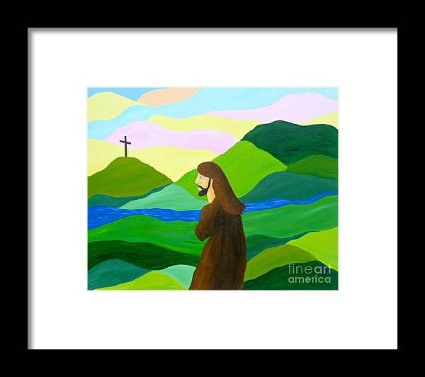 God Framed Print featuring the painting Risen A New Dawn by JoNeL Art