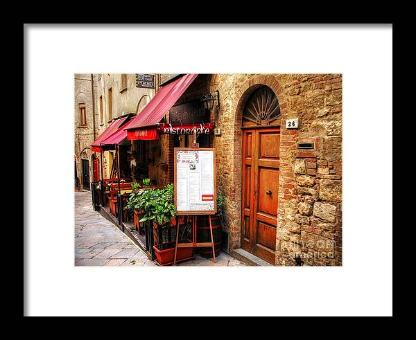 Ristorante In Tuscany Framed Print featuring the photograph Ristorante In Tuscany by Mel Steinhauer