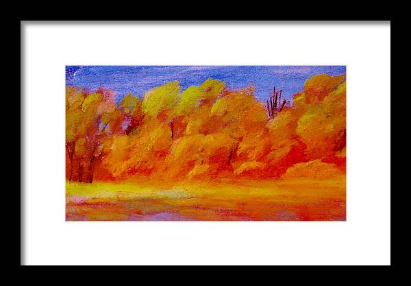 Landscape Framed Print featuring the pastel River Bottoms In Autumn by Steve Jorde