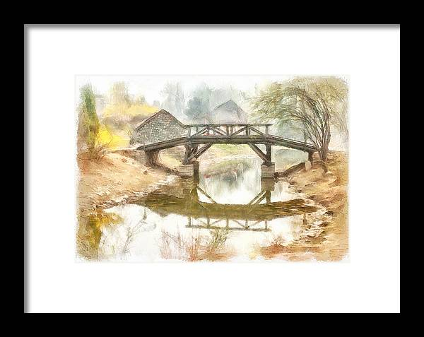 Simple Framed Print featuring the digital art River Bridge Landscape by Yury Malkov