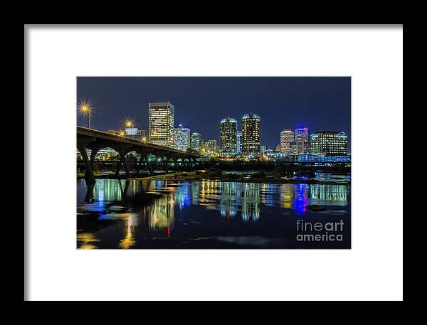 Richmond Virginia Skyline Framed Print featuring the photograph River City Skyline by Ava Reaves