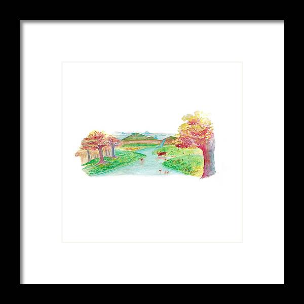 Trees Framed Print featuring the painting River Of Peace by Ace Spencer Apolonio